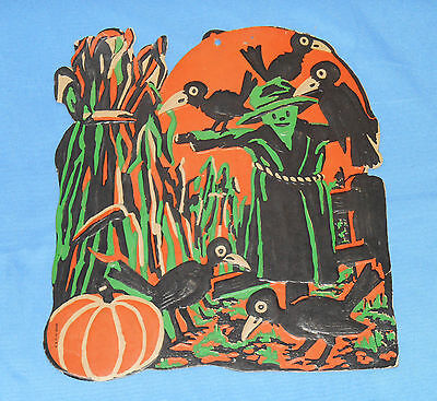 vintage Halloween SCARECROW WITH CROWS & HAYSTACK embossed decoration cutout