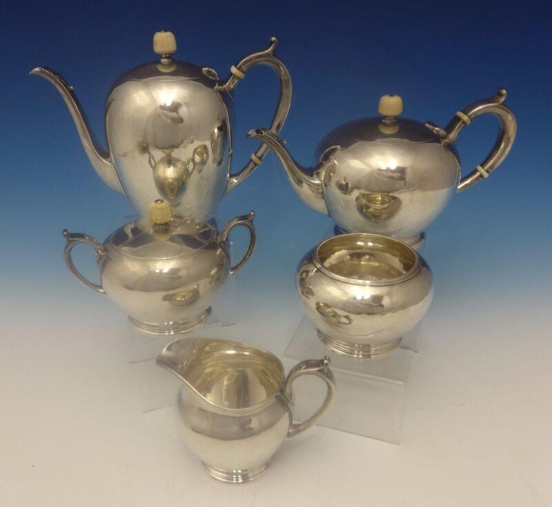 Arthur Stone Sterling Silver Tea Set Hand Wrought 5 Pc. (#0284)