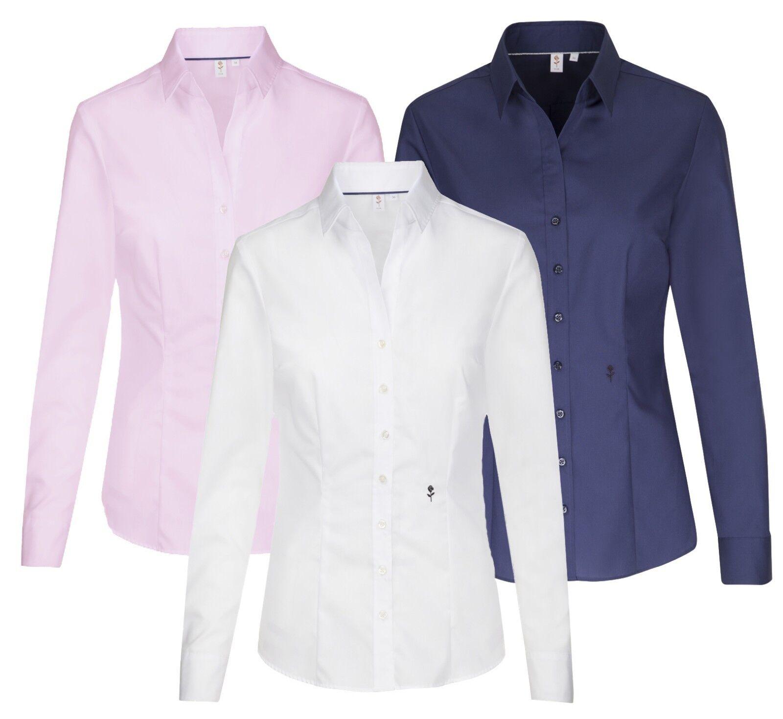 Damen Bluse weiß rosa navy Seidensticker SCHWARZE ROSE 080613 bügelfrei Slim Fit