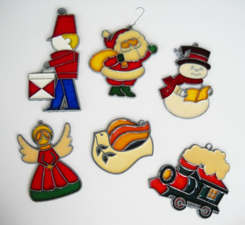 6 Vintage Hong Kong Stained Glass Christmas Ornaments Suncatchers-Drummer Boy