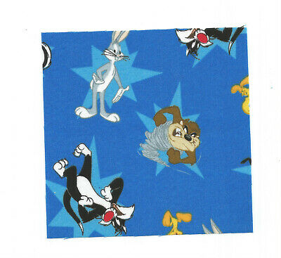 Looney Tunes Gang. Blue Cotton Quilting Squares 16- 5