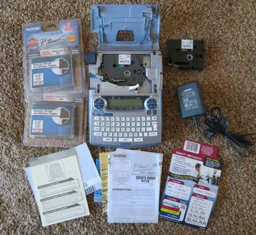 Brother PT-1880 Label Maker,AC Power Adapter, 4 tapes