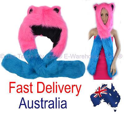 Animal Trooper Trapper (Trooper Trapper Ski Hat Bomber Faux Fur Animal Hood Gloves Hot Pink Aqua)