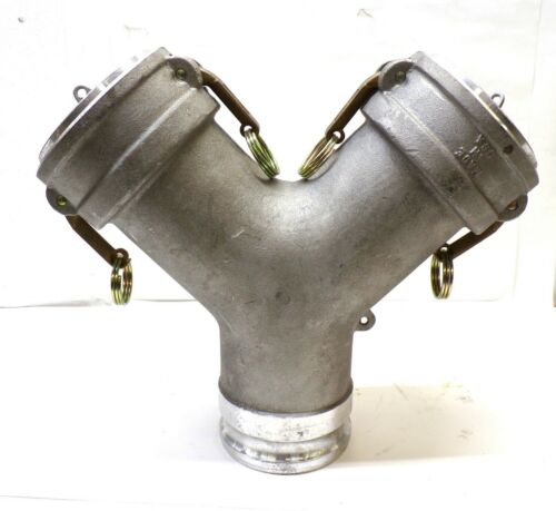 """PT COUPLING WYE FITTING, 40AX40CY,  4""""  CAM & GROOVE ADAPTER X COUPLER, ALUMINUM"""