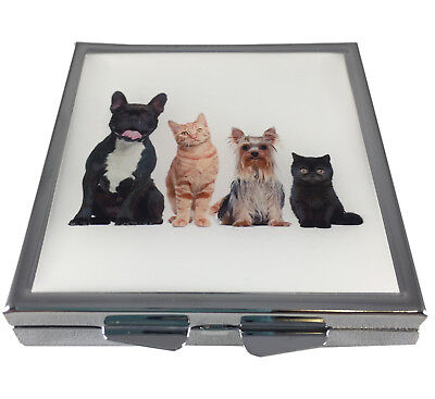 Dogs + Cats Square Silver Four Section Gift Pocket/Purse/Travel Pill Box Case -