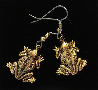Frog Earrings 24 Karat Gold Plate Toad Bullfrog Polliwog Croaker Amphibian
