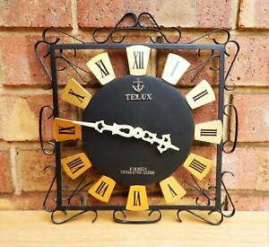 Mid Century Vintage Black Metal & Gold Wall Clock - Japan