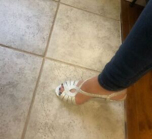 Silver Cocktail/Bridal Wedges size 6