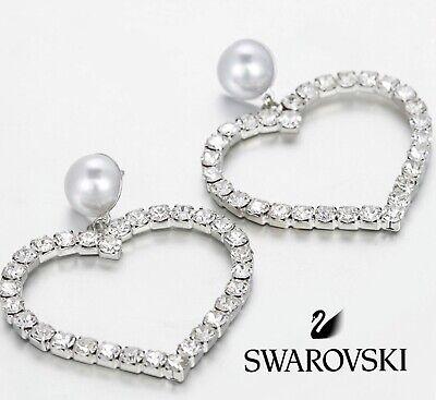 Heart Earrings with Pearl ❤️ Swarovski Cubic Zirconia Cr