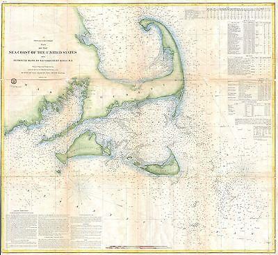1857 Coastal Map Nautical Chart of Cape Cod Nantucket and Martha's Vineyard
