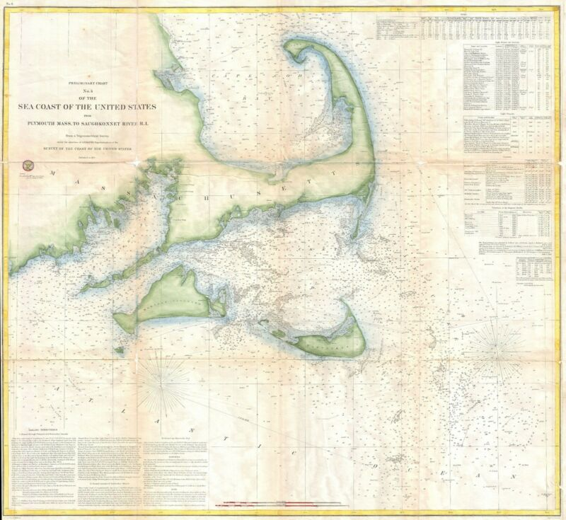 1857 Coastal Map Nautical Chart of Cape Cod Nantucket and Martha