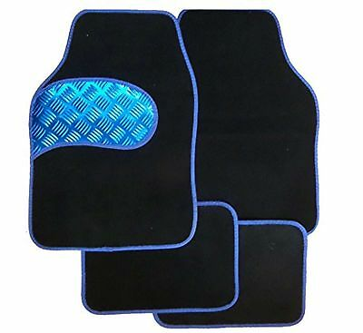 Universal Full 4 piece Car Floor Mat Set With BLUE Kick Plate  Blue Border
