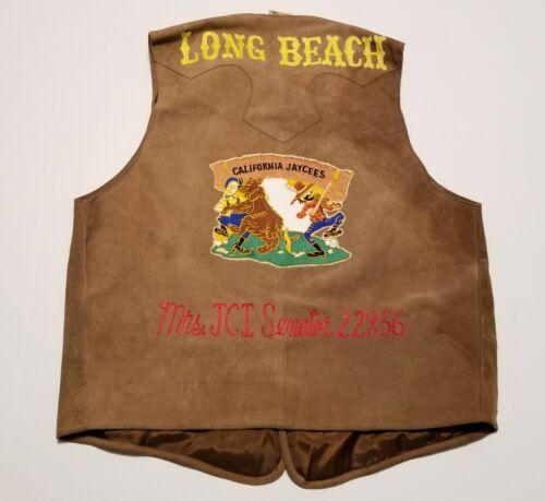 Vintage 1960-70s Jaycees Long Beach Chain Stitch Suede Leather Womens 42 Vest
