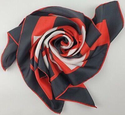 Vintage Scarf Styles -1920s to 1960s Vintage Red White Black Silk Scarf Geometric Design Square Japan Patriotic $24.99 AT vintagedancer.com