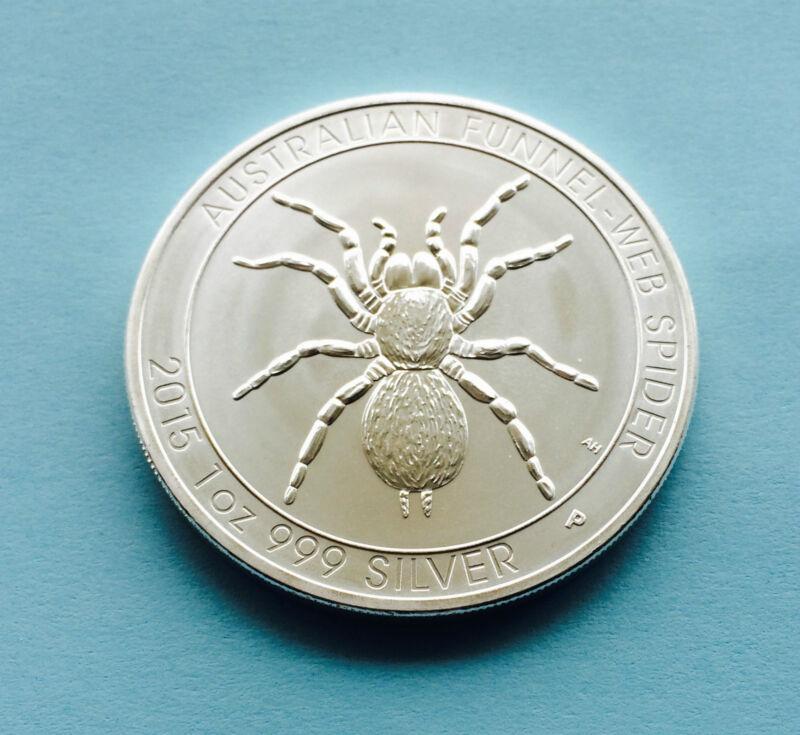 2015 Australian FUNNEL-WEB SPIDER 1 OZ Coin .999 Fine Silver ENTHUSIASTS L@@K!