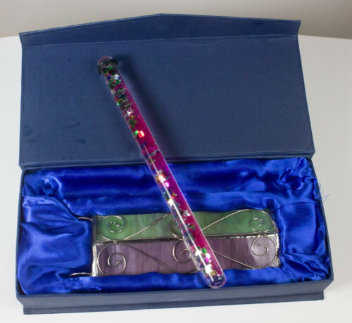 """Beautiful 10"""" stained glass kaleidoscope with Prismatic oil wand with case"""