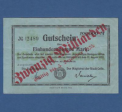 CELLE 20 Milliarden auf 100.000 Mark 1923 III / VF