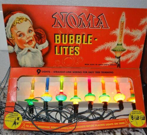 Vtg Noma #509 Christmas Bubble Lites String 8 Bulbs w/ Original Box -- WORKS