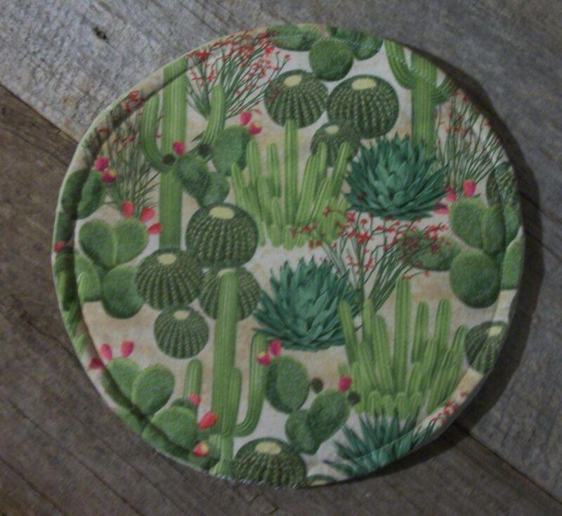 "Tortilla Pita Flatbread Naan Microwave Warmer 10"" Round Cactus Barrel Flowers"