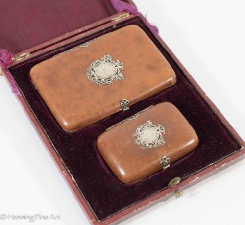 Antique Victorian Coin Purse Wallet, Cigarette Case in Leather & Sterling Silver