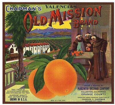 OLD MISSION Brand, Orange Crate Label, Monks, ***AN ORIGINAL LABEL*** 246 Mission Orange Label