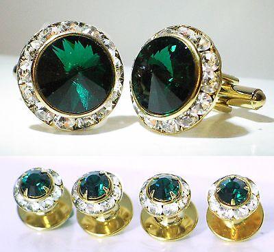 Emerald Stud Cufflinks - EMERALD CRYSTAL TUXEDO CUFFLINKS & STUDS SET CUSTOM MADE WITH SWAROVSKI CRYSTALS