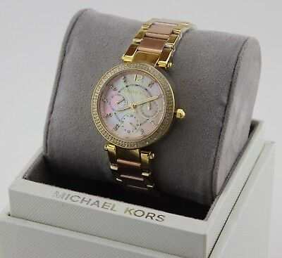 NEW AUTHENTIC MICHAEL KORS PARKER ROSE GOLD PINK CRYSTALS WOMEN'S MK6477 WATCH