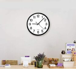 12-Inch Silent Non-Ticking Wall Clock Black and White Large Thin Side Home Decor