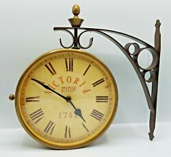 Hanging Train Railway Station Clock Victoria Station 1747 2 Sided WORKS