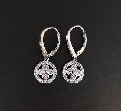 Dangling Drop Diamond Earrings - 925 Sterling Silver White Diamond Clover Drop Dangle Leverback Earrings
