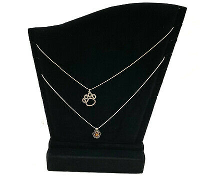 Two Black Velvet Necklace Pendant 6 Slots Display Stand Displays 11-12
