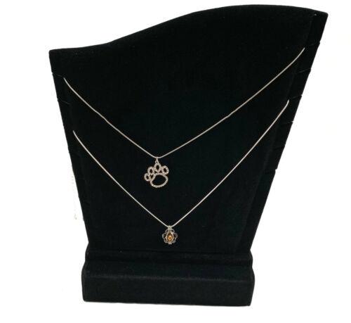 "TWO Black Velvet Necklace Pendant (6 slots) Display Stand Displays 11-1/2"""