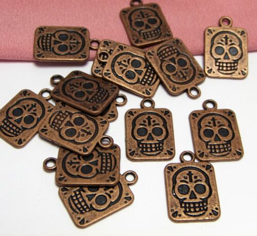 Lot of 15 Copper Sugar Skull Charms Lot-Square-Double sided-$30 Order Ships FREE