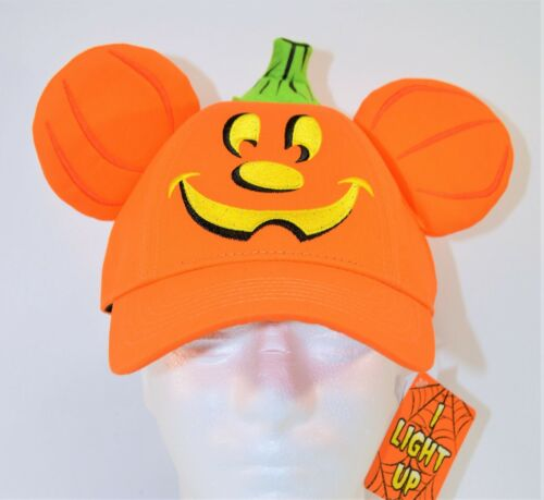 Disney Exclusive 2019 Halloween Mickey Pumpkin Light Up Adult Baseball Hat RARE