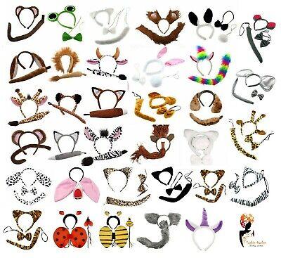 ANIMAL EARS BOW TAIL SET Book Week Costume Kids Adults Fancy Dress Accessory Kit - Costume Animal Ears