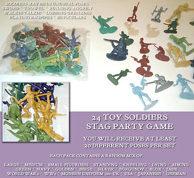24 TOY SOLDIERS STAG PARTY GAME Coloured FIGURES 20+ Poses BACHELOR NON-DRINKING
