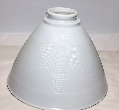 """CORNING 8"""" Milk Glass Rembrandt Waffle Torchiere Floor Lamp Shade Diffuser NICE!"""