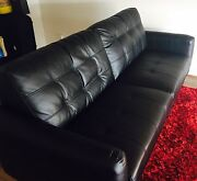 Black 3 Seater Leather Sofa Windsor Stonnington Area Preview