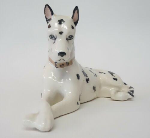 VINTAGE ERPHILA HARLEQUIN GREAT DANE DOG FIGURINE  PORCELAIN - MADE IN GERMANY