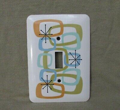 Mid Century Modern - Metal Light Switch Cover - Atomic Geometric Style -New- Lg