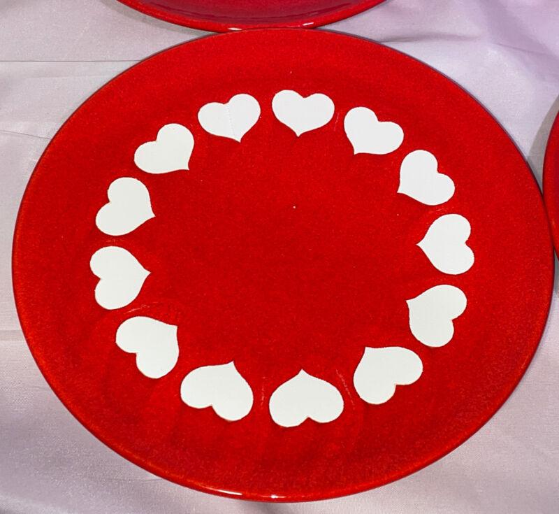 "Waechtersbach Red & White Big Hearts Valentine's 7.75"" Salad Plate Extras Avl"