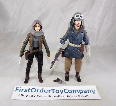 "Star Wars Black Series 6"" Inch Captain Cassian & Jyn Erso Figure Lot COMPLETE"