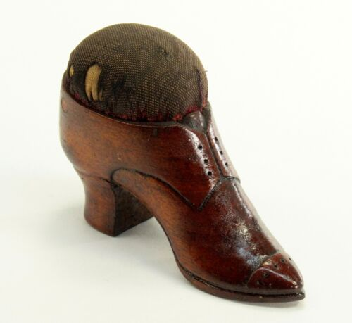 ^ Antique Carved Wood Treen Victorian Shoe-Form Pin Cushion Sewing