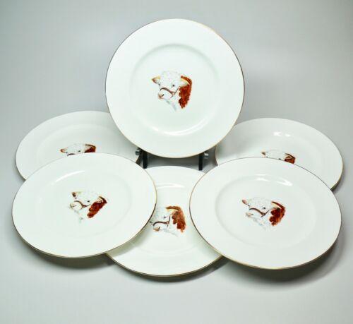 "6 Vtg 1950s Dulcie Vaughan England Hand Painted Porcelain 9"" Plates Cow Theme"