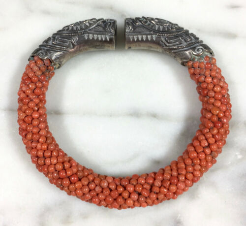 ANTIQUE CHINESE MONGOLIAN STERLING SILVER NATURAL RED CORAL BRACELET HALLMARKED