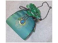 emerald satin evening bag