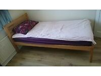 Single bed frame with height perfect for storage sold with mattress and cover