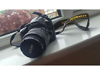 Nikon D3200 with lens SD card and charger
