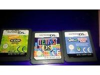 nintendi ds lite console with few games, case and charger