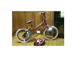 "Girls Bike 16.5"" With Helmet & stabilizers..!!"